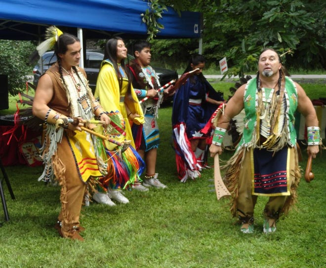 """Frank Little Bear and the """"Red Vision"""" dancers demonstrate Native American dances, teaches about their heritage and culture, and dismisses misunderstanding. A native of the  Cree Nation, he is a favorite at the annual Canal Festival. He and his family live in York, Pa."""