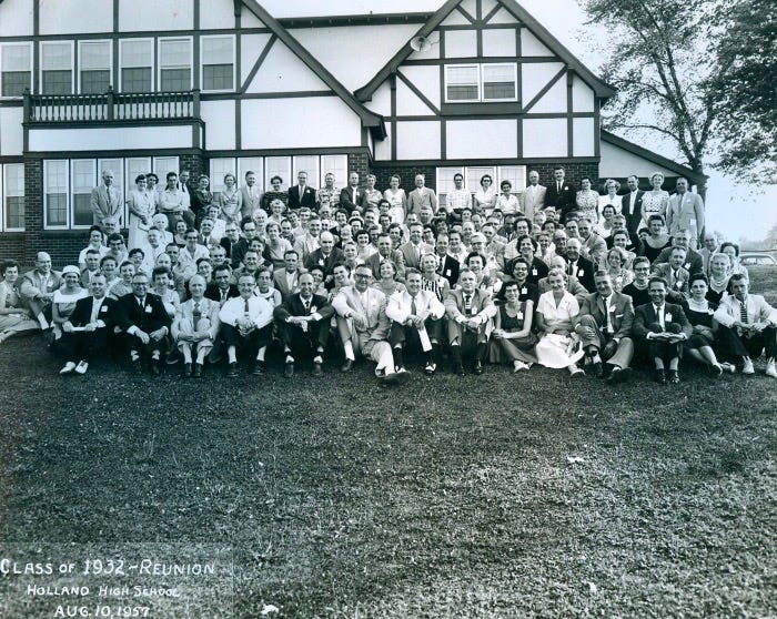 Former students pose for a photo at a Holland High School class reunion in August 1957 at Holland Country Club. The clubhouse retained much of its original design in the 50s, despite a change in ownership.