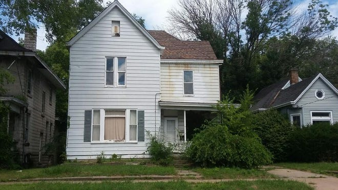 The home at 1103 E. Frye Ave. on Peoria's East Bluff is among those slated to be sold at auction after property taxes on the parcel had not been paid for the past three years.