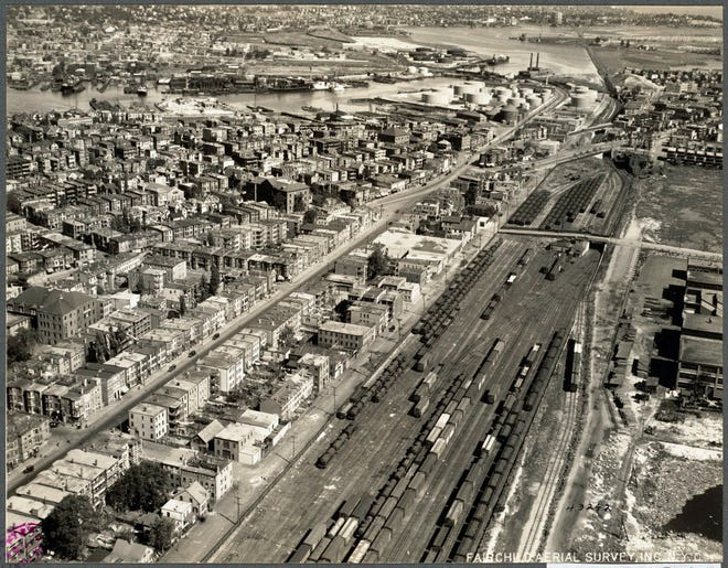 Here's a view of East Boston as it was in 1925. The photo was taken by Fairchild Aerial Survey, Inc. N.Y.C.