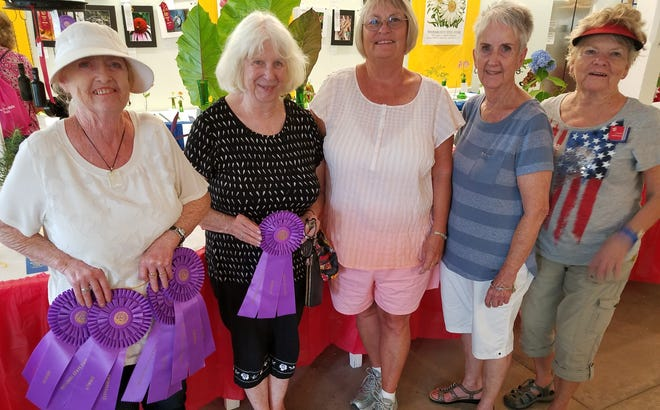 Pictured: Tanya Stanley, Judy Thrall, Marinea Merhroff, Katie Sturtridge and Mary Bullock. Not pictured are Joan Martin and Debbie Cook. All those who attended had entries and several received first and second place ribbons.