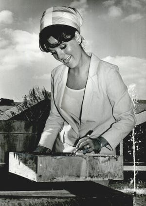 """Actress Dawn Wells autographs a concrete slab on Aug. 26, 1966, at what was then known as the National Cowboy Hall of Fame and Western Heritage Center. Best known for her portrayal of the character Mary Ann Summers on """"Gilligan's Island,"""" Wells was in Oklahoma City to promote the TV show."""