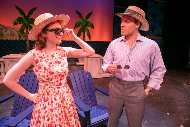 """Megan Wager and James Ray Taylor III perform a scene from Ocala Civic Theatre's new production, """"Dirty Rotten Scoundrels,"""" during a dress rehearsal on Monday. The play opens Thursday and runs through Sept. 19."""