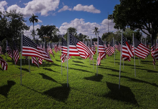 Through its annual Flags for Heroes event at Bradley Park, the Rotary Club of Palm Beach handed out more than $12,500 in scholarship money Aug. 10 to eight local students.