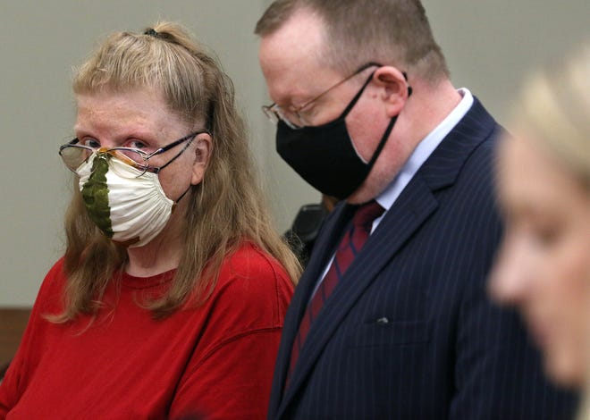 Michele Rothgeb appears in Superior Court, Warwick, along with her attorney, James Lawrence, on Wednesday.