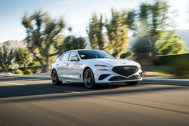 The 2022 Genesis G70 has sleek, fastback lines and new front and rear styling.