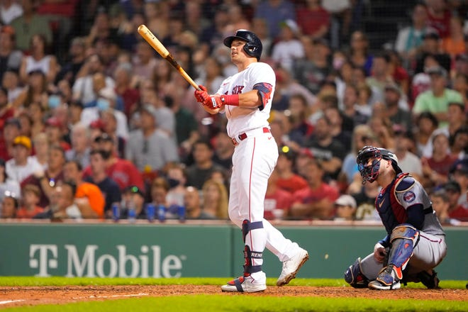 Hunter Renfroe watches his two-run homer against the Minnesota Twins in the fifth inning at Fenway Park on Tuesday night.