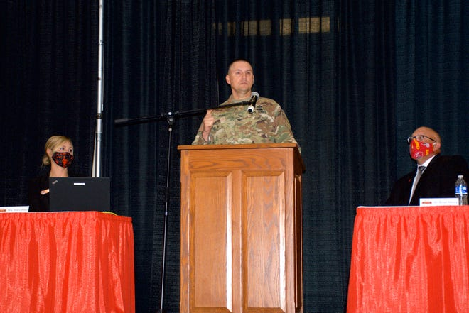Col. Richard Ball, Maneuver Support Center of Excellence Chief of Staff, speaks at Waynesville R-VI Convocation.