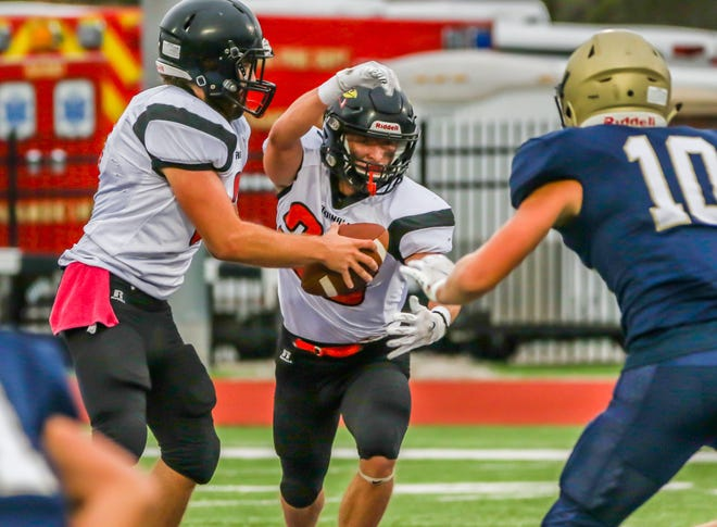 Ell-Saline must replace both starting quarterback TJ Morrical (3) and running back Keenan Drees (28) in the backfield this season. The Cardinals open their season Sept. 3 at home against Marion.