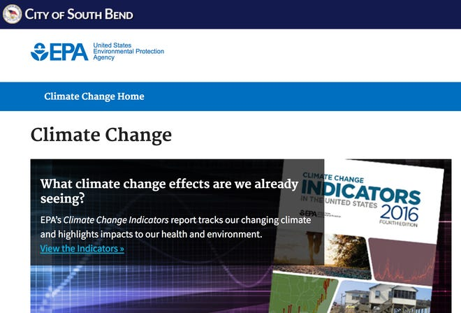 A screenshot of a webpage displaying climate change data on the city of South Bend's website on Thursday, June 22, 2017.