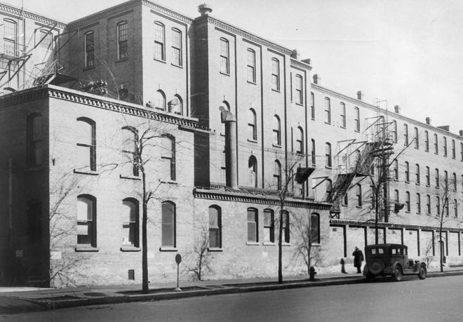"""In this undated file photo, the original Studebaker plant in South Bend is shown. The automaker is one of the topics covered in the """"Auto Indiana"""" exhibit from the Indiana Historical Society now on display at the Historic New Carlisle Local History Museum."""