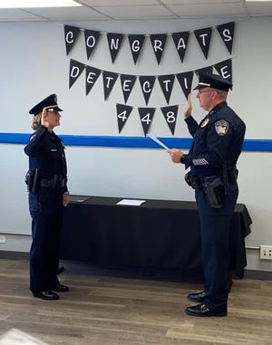 The Stephenville Police Department announces the promotion of Detective Taylor Morrison. Here Morrison is sworn to duty by Stephenville Police Chief Dan Harris.