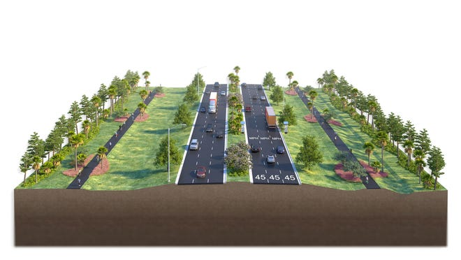 This rendering shows a six-lane portion of River Road that is planned to connect Center Road and U.S. 41 near North Port. The design-build team of Stantec and The de Moya Group were recently awarded a $47.5 million contract by the Florida Department of Transportation to widen the roadway.