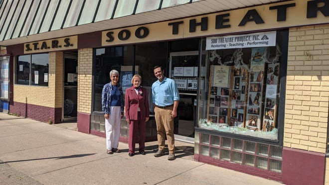 Dr. Constance M. Baker recently made a $30,000 donation to the Soo Theatre for its restoration project. The restoration efforts are slated to cost $640,500. From left: Colleen Arbic, theater executive director, Justin Knepper of Knepper Development Strategies, and Dr. Constance Baker.