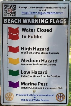 Oak Island is installing signs that educate visitors on their flag warning system, and provides a link to find current hazards.