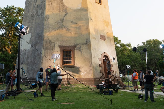 """On July 30, the Hallmark Movies & Mysteries film """"One Summer"""" shot on location overnight at Southeastern North Carolina's iconic Old Baldy Lighthouse on Bald Head Island."""