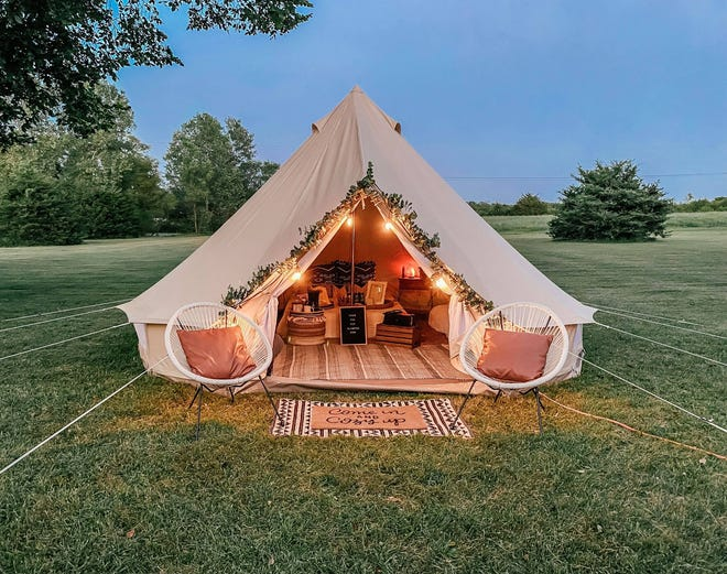 From the Top Glamping sets up its 16-foot tall bell tent in customers' backyards, making it easy for them to use their own kitchen and bathroom.