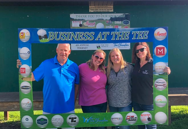 Watertown Area Chamber of Commerce staff members Tim Sheehan, Ashley Johnson, Kelsey Begalka and Geri Timm during the Business at the Tee Golf Tournament at Cattail Crossings on Aug. 13.