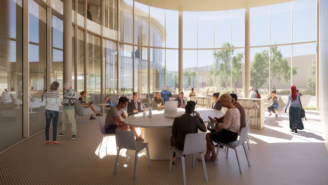 The Appleton Public Library's community pavilion meeting room is designed to seat 400 people.