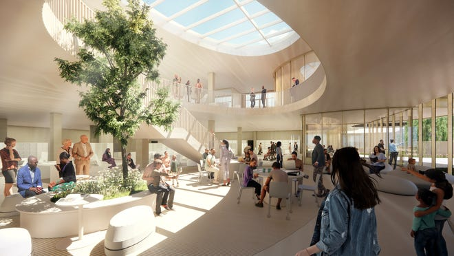 An architectural drawing shows the proposed entry and garden commons of the new Appleton Public Library.