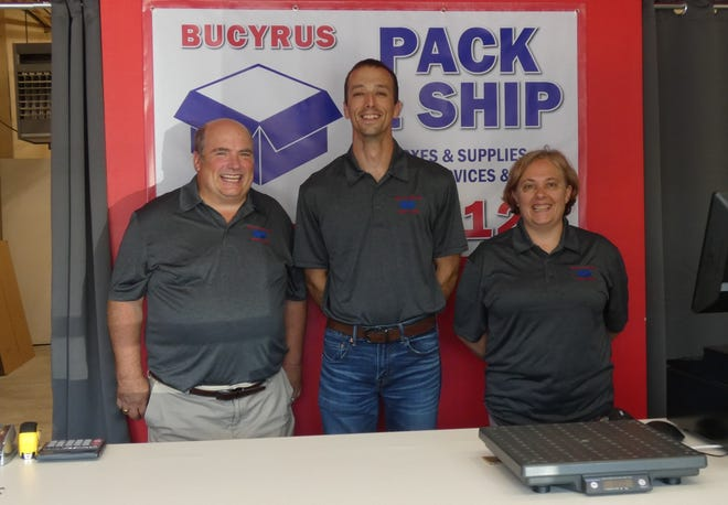 Bucyrus Pack & Ship opened earlier this month. From left are co-owners Duane Watts, Dough Foght and Ida Foght.