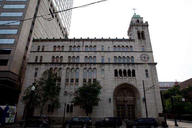 A view of St. Louis Catholic Church on Wednesday shows the permanently closed Archdiocese of Cincinnati church. An archdiocese official said the church is looking into its options when it comes to what to do with the building.