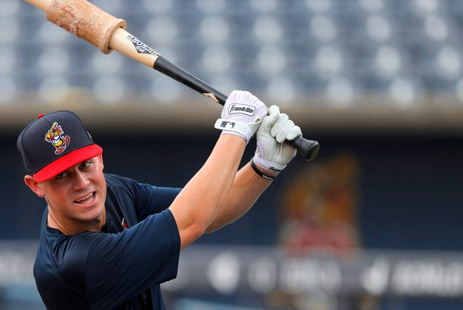 Toledo Mud Hens first baseman Spencer Torkelson during batting practice before his teams game against the St. Paul Saints at Fifth Third Stadium in Toledo, Ohio on August 24, 2021.
