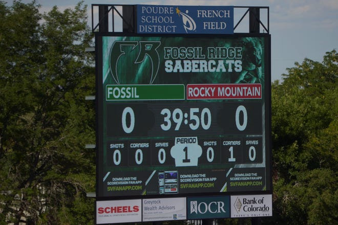 The new scoreboard at French Field at Rocky Mountain High School, shown on Tuesday, Aug. 24, 2021 with a practice soccer game display.