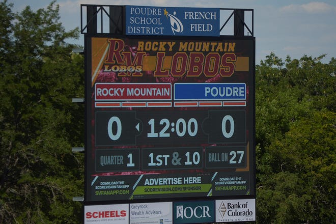 The new scoreboard at French Field at Rocky Mountain High School, shown on Tuesday, Aug. 24, 2021 with a practice football game display.