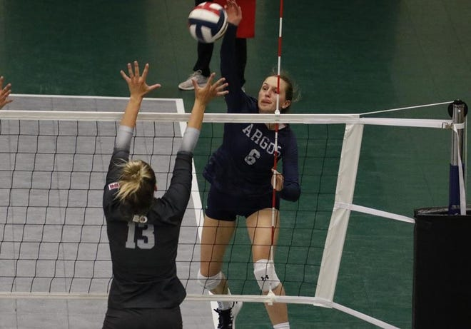 New Zealand native Jenna Thorne (6) goes high for the kill during a Big Sky Challenge Tournament match last weekend in Butte.