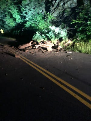 A rockslide that occurred Tuesday, Aug. 24 on Newfound Gap Road in Great Smoky Mountains National Park.