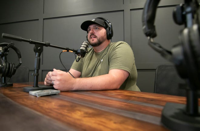 Rob Johnson founded Speakeasy Podcast Network, a Brighton studio shown Wednesday, Aug. 25, 2021.