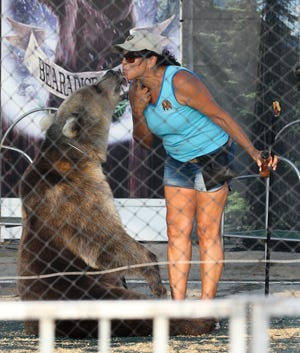 Monica Welde gets a kiss from Lucy during the Welde's Big Bear Show at Bearadise Ranch inside the Kentucky State Fair in Louisville, Ky. on Aug. 24 2021.