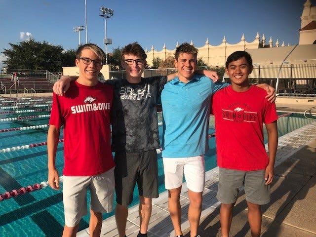 Brophy Prep swimmers Thomas Joswiak, Bill Wickers, Jack Sorenson and Gabe Gonda are ready to start another long state championship streak. Richard Obert
