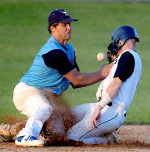 York Township's Andy Freeburger looses the ball as East Prospect's Devin Strickler steals second in Game 3 of the best-of-three Susquehanna League semifinal series at East Prospect Tuesday, Aug. 24, 2021. East Prospect took the series with a 4-0 win. Bill Kalina photo