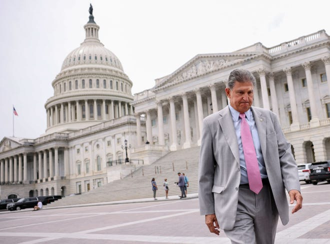 Sen. Joe Manchin (D-WV) leaves the U.S. Capitol following a vote on August 3, 2021 in Washington, DC. (Kevin Dietsch/Getty Images/TNS)
