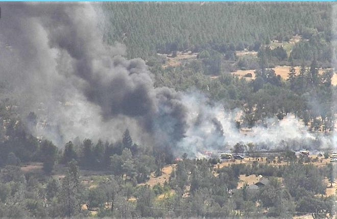 A vegetation fire burns Wednesday afternoon, Aug. 25, 2021, in the area of Ole Avenue and Rock Creek Road north of Manton near Shingletown in eastern Shasta County.