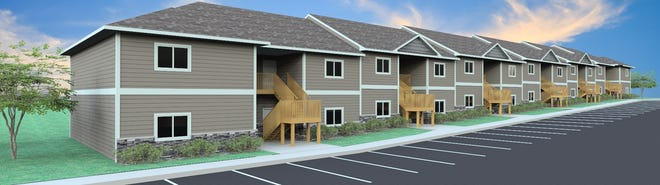 A rendering of a 24-plex building at The Brixx, an upcoming Cresten Properties housing complex at the crossroads of N. Marion Road and W. Benson Road.