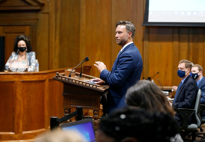 Sen. Lincoln Hough, a Springfield Republican, speaks at a Springfield City Council meeting on Aug. 23, 2021. Hough criticized the removal of an LGBTQ+ history exhibit from the state capitol building by Gov. Mike Parson's administration in an interview aired Sunday.