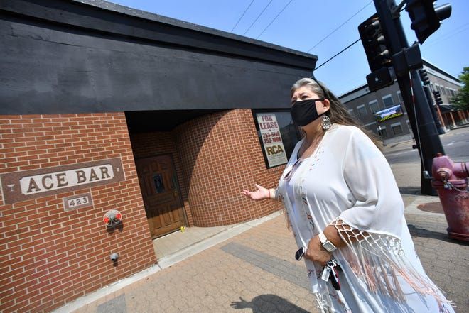 Gennifer Georges-Tschida talks about her plans for the former Ace Bar location during an interview Monday, Aug. 16, 2021, in St. Cloud.