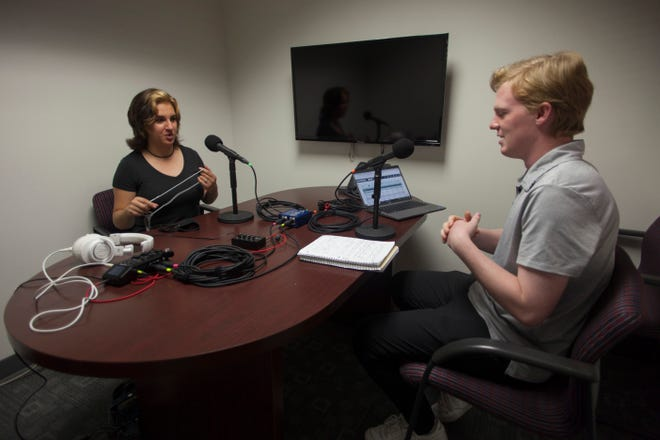 The Spectrum's Elle Cabrera, left, interviews reporter Sean Hemmersmeier about his recent articles on the recently-released results from the 2020 Census and what the numbers say about southwestern Utah.