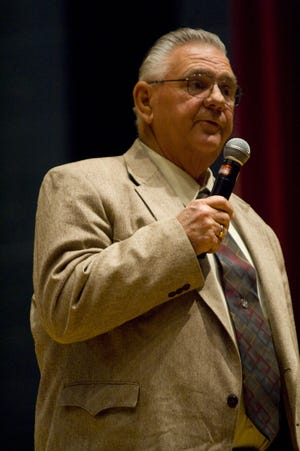 Longtime Hurricane Mayor Tom Hirschi speaks during a meet-the-candidates event in this Spectrum file photo.