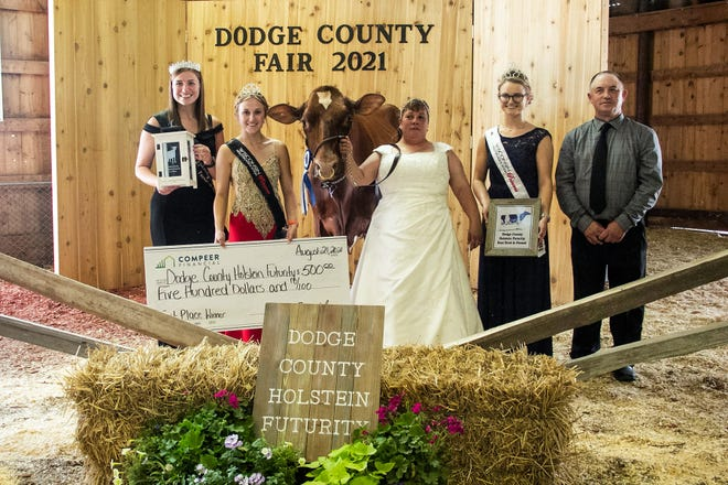 Marybee Absolute Lovin-Red, owned and exhibited by Mary Gundrum, Hartford, Wis., Marybee Holsteins, won the annual Dodge County Holstein Futurity held during the Dodge County Fair, Beaver Dam, Wis., on Saturday, Aug. 21, 2021. Eddie Bue from Milksource Genetics, Kaukauna, Wis., judged the show.