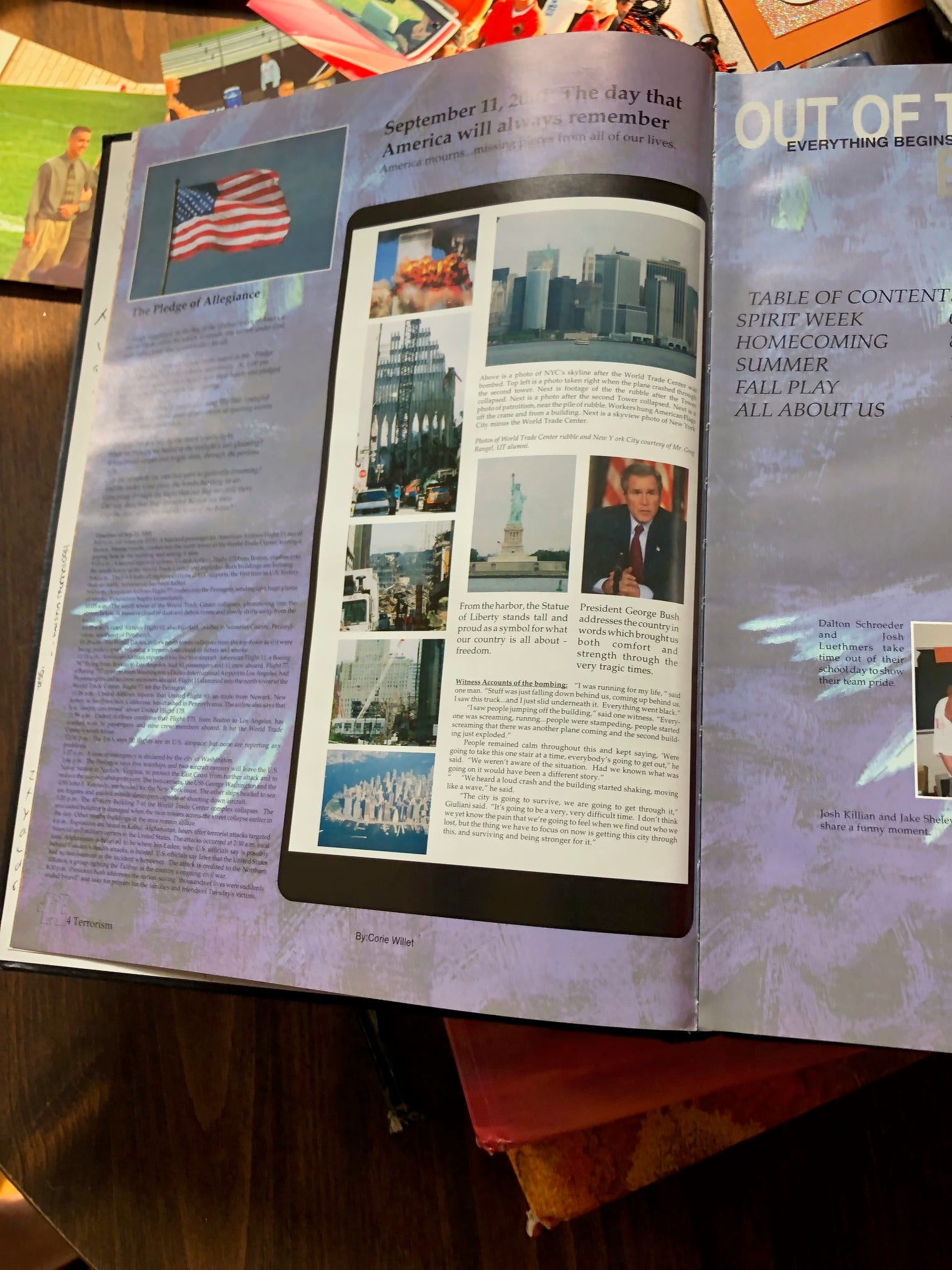 United Township High School's yearbook for 2002 dedicated a page to 9/11.