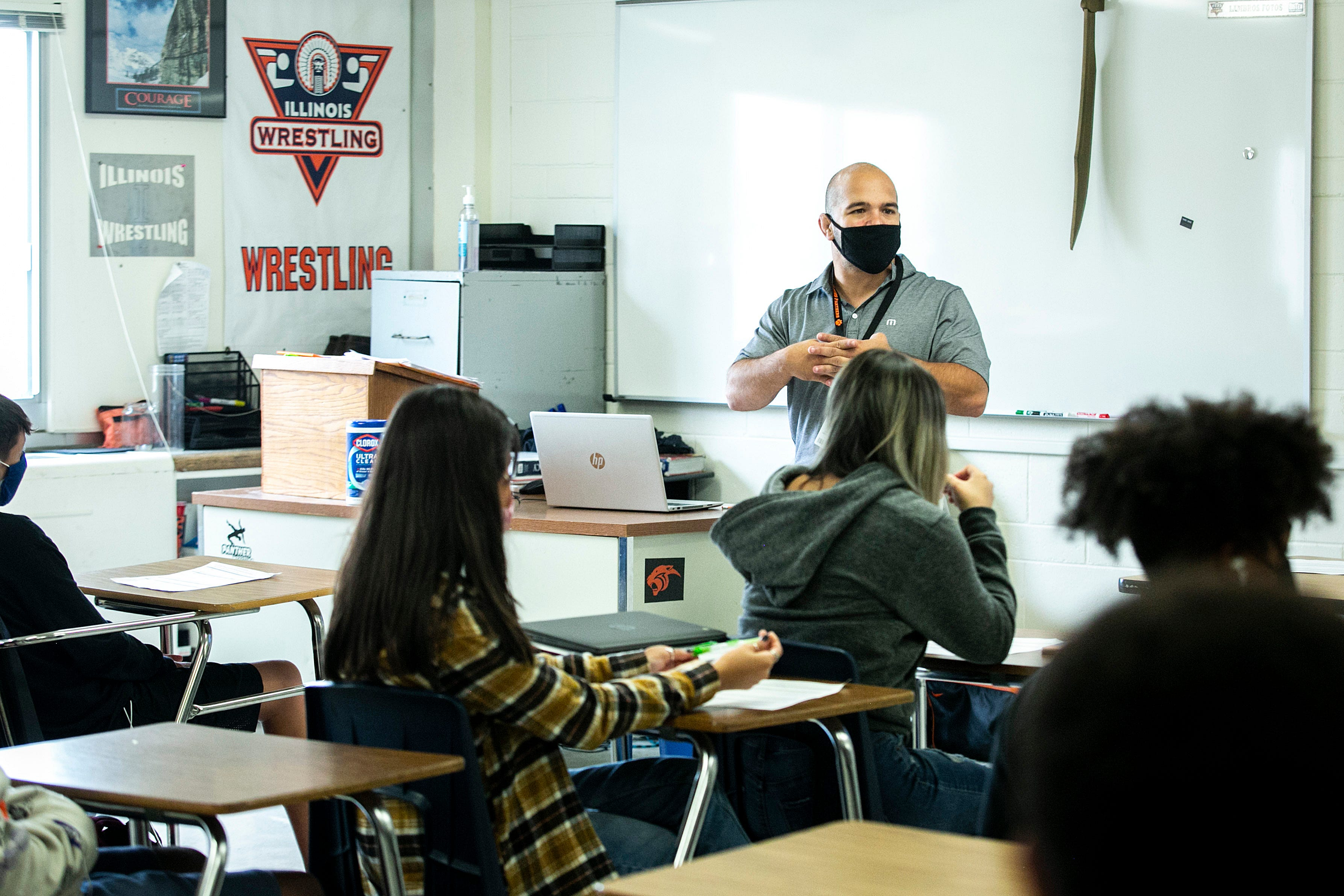 Lambros Fotos teaches a history class, Friday, Aug. 6, 2021, at United Township High School in East Moline, Ill.