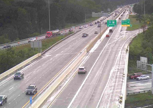 The ramp from I-277 eastbound to I-77 will close overnight Thursday from 10 p.m. to 5 a.m. Friday. Pictured, a line of heavy eastbound traffic on I-277 at the top of the photo exits southbound toward Canton.