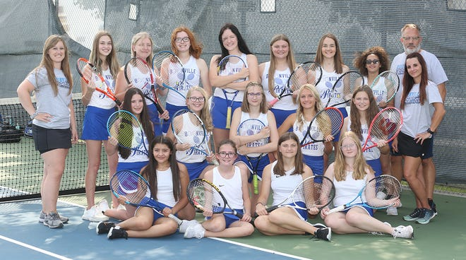 Boonville girls tennis team (front row, left to right) Paola Sanchez, Abby Lang, Kaylee Casey and Bridget Puryear. (second row, left to right) Madison Inskeep, Chloe Grizzle, Emily Baker, Emma Neidig, and Georgi Hendrix. (back row, left to right) Head coach Melissa Harvey, Arji Webster, Jordyn Williamson, Kate Schneringer, Alyssa Fitzgerald, Lilli Hendrix, Abbigail Pannell, Haylie Mendez, assistant coach Mallory Espey, and assistant coach John Neidig.