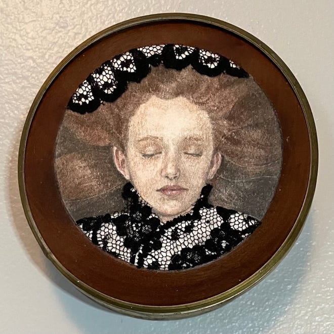 """""""All Is Dark Where Thou Art Not,"""" chalk, graphite, and lace on paper and found object, by Hannah Reeves"""