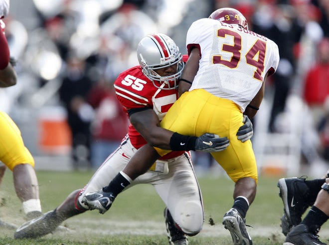 Curtis Terry (55) played linebacker at Ohio State from 2004 to 2008.