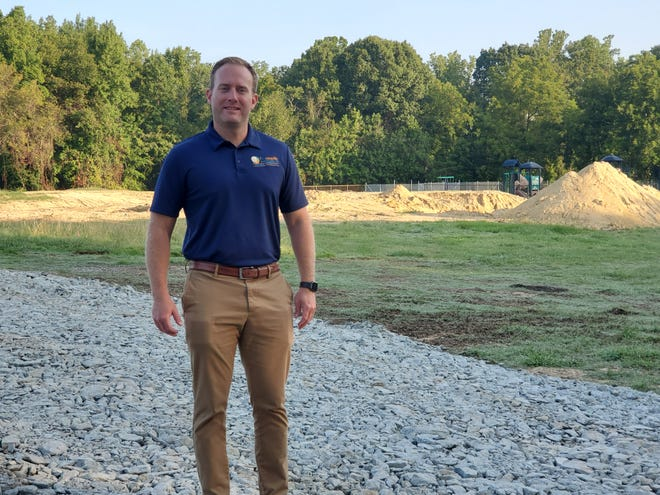 Thomasville Parks and Recreation Director Cory Tobin stands at the location of the city's planned $6.5 million aquatics and community center on Stadium Drive. The former pool at Memorial Park was demolished to make way for the project, which will host a groundbreaking on Sept. 7.